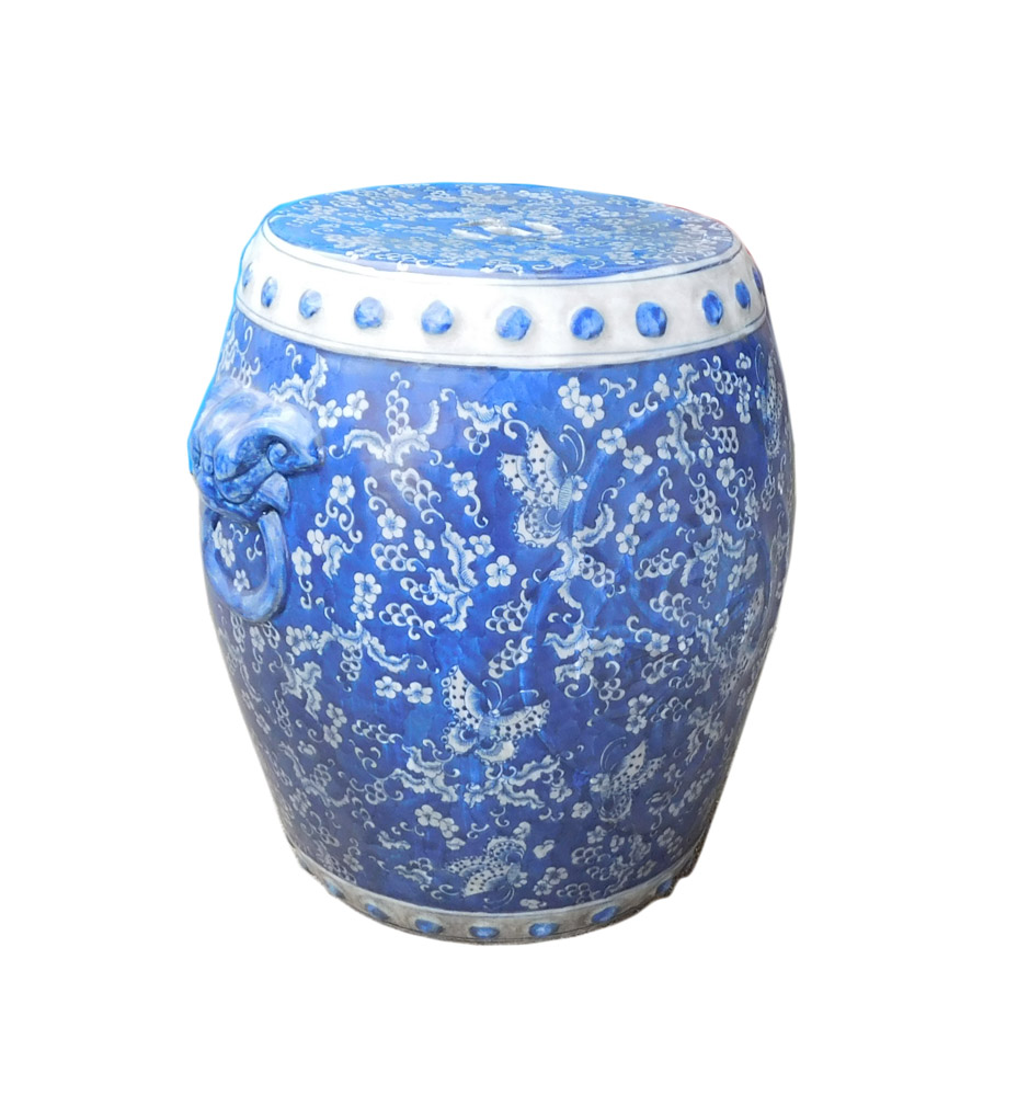 Chinese Blue White Porcelain Butterflies Stool Chairish