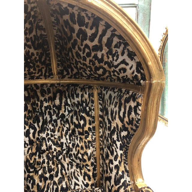 Metal 18th Century Antique French Louis XV Porter Child or Pet Chair With Leopard & Rivet Upholstery For Sale - Image 7 of 13