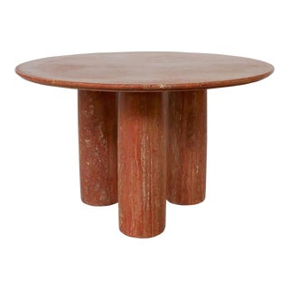 "Italian Red Travertine Dining Table ""Il Colonnato"" by Mario Bellini for Cassina, 1977 For Sale"