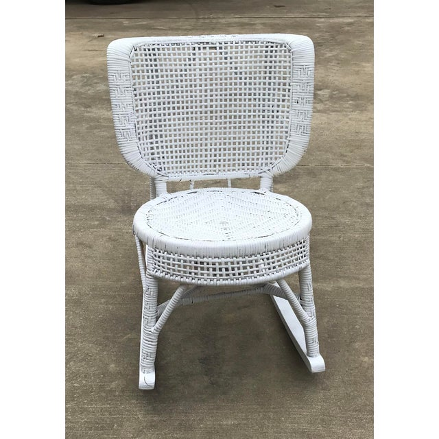 Early 20th Century Early 20th Century Antique White Wicker Rocking Chair For Sale - Image 5 of 8