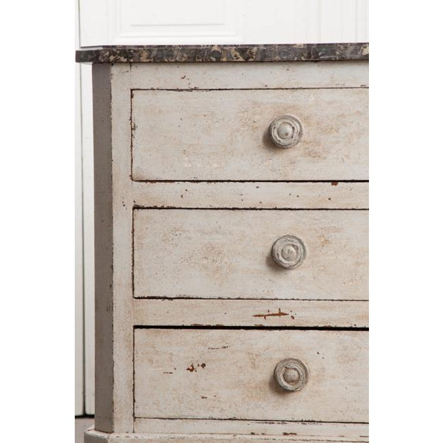 French French 19th Century Painted Commode With Marble Top For Sale - Image 3 of 12