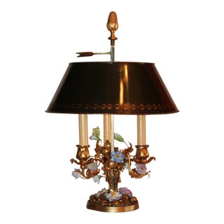 "19th Century Antique Dore Gilt Bronze San Vincennes Meissen Porcelain Flowered ""Louis Xvi"" Bouillotte Table Lamp For Sale"