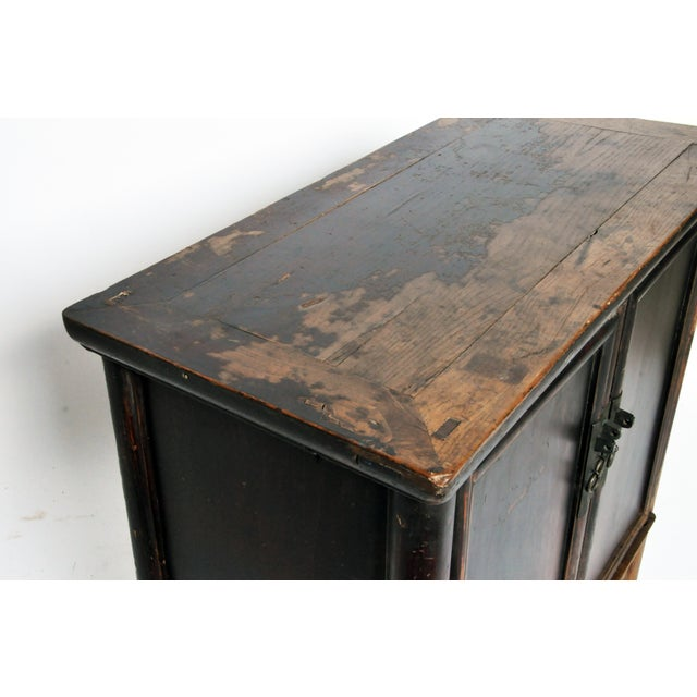 17th Century Qing Dynasty Round Post Chest With Two Drawers and Original Patina For Sale - Image 11 of 13