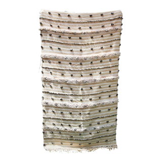 Large Vintage Tribal Moroccan Handcrafted Wedding Blanket Throw with Sequins 5 For Sale