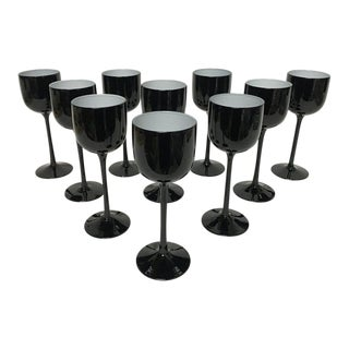Carlo Moretti Tall Black and White Cased Glass Wine Glasses - Set of 10 For Sale