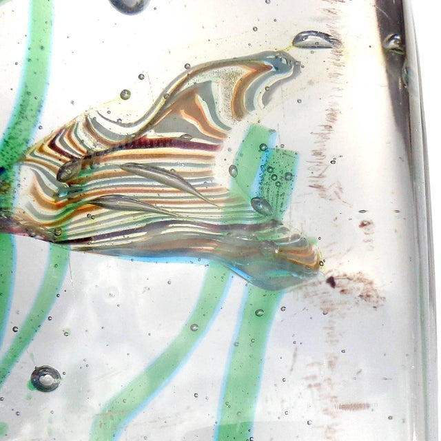 Glass Cenedese Murano Pink Blue Silver Fish Italian Art Glass Aquarium Block Sculpture For Sale - Image 7 of 8