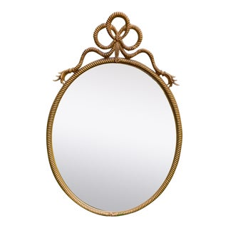 1970s Gold Painted Oval Rope Motif Mirror For Sale