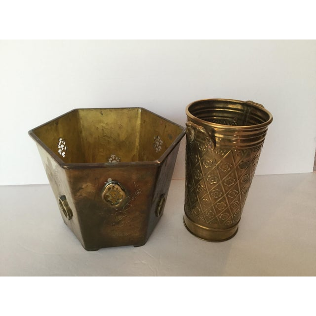 1980s 1980s Vintage Brass Planters - A Pair For Sale - Image 5 of 10