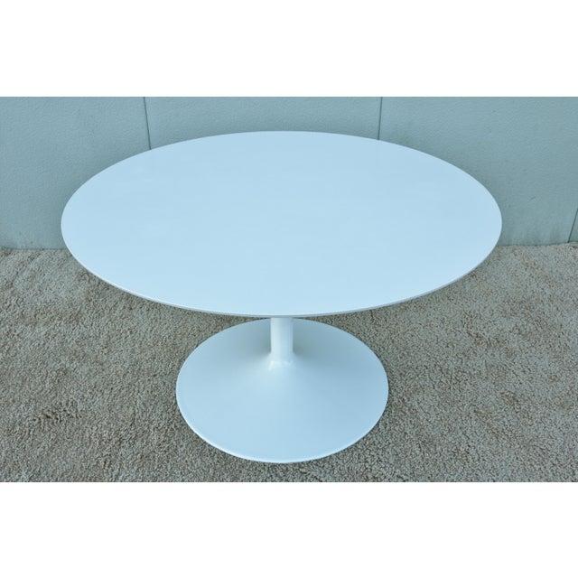 """1950s Mid-Century Modern Eero Saarinen Style 48"""" Round White Top Tulip Dining Table - Image 2 of 13"""