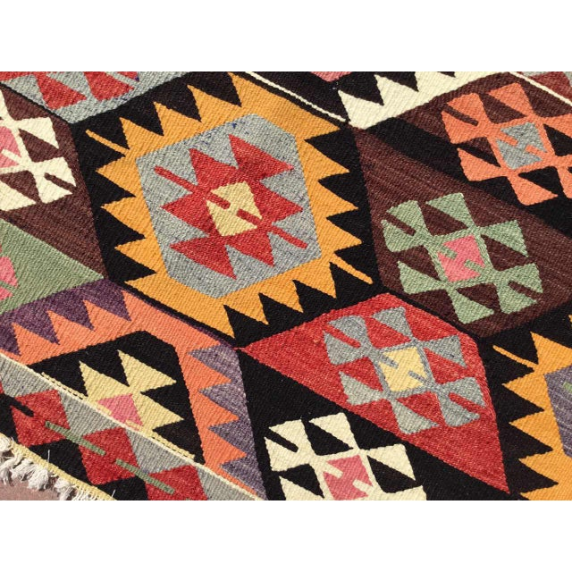 Colorful Vintage Turkish Kilim Rug For Sale In Raleigh - Image 6 of 10
