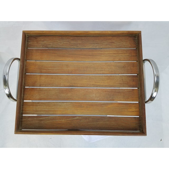 Danish Modern Teak Tray With Chrome Handles - Image 2 of 5