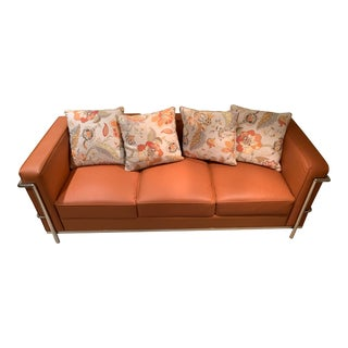 Leather Sofa With Steel Frame & Throw Pillows For Sale