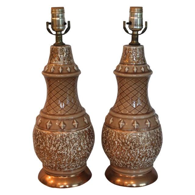 Mid-Century Tan & Gold Boudoir Lamps - A Pair - Image 1 of 4