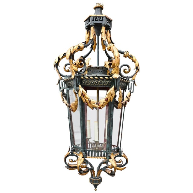 Neoclassical Iron and Tole Hall Lantern, Early 20th Century For Sale In Boston - Image 6 of 6