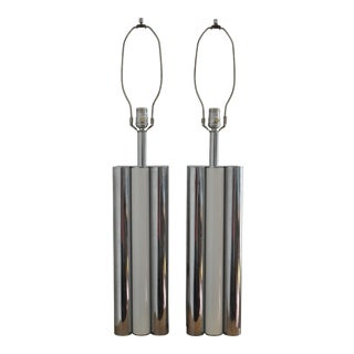 Chrome & White Table Lamps - a Pair For Sale
