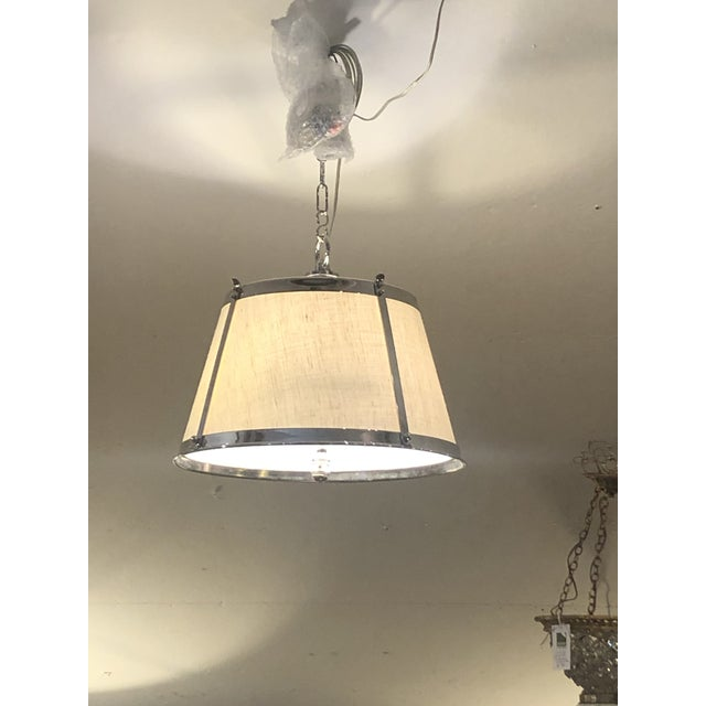 Metal Linen and Polished Nickel Contemporary Chandelier For Sale - Image 7 of 8