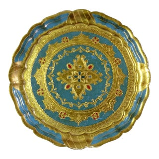 Italian Blue & Gold Florentine Small Round Wood Tray For Sale