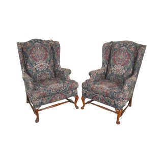 Queen Anne Custom Upholstered Pair of Wing Chairs For Sale