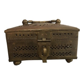 Antique Pierced Brass Paan Daan / Cricket Box For Sale