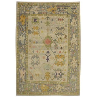 Contemporary Turkish Oushak Rug with Pastel Colors and Tribal Boho Chic Style For Sale