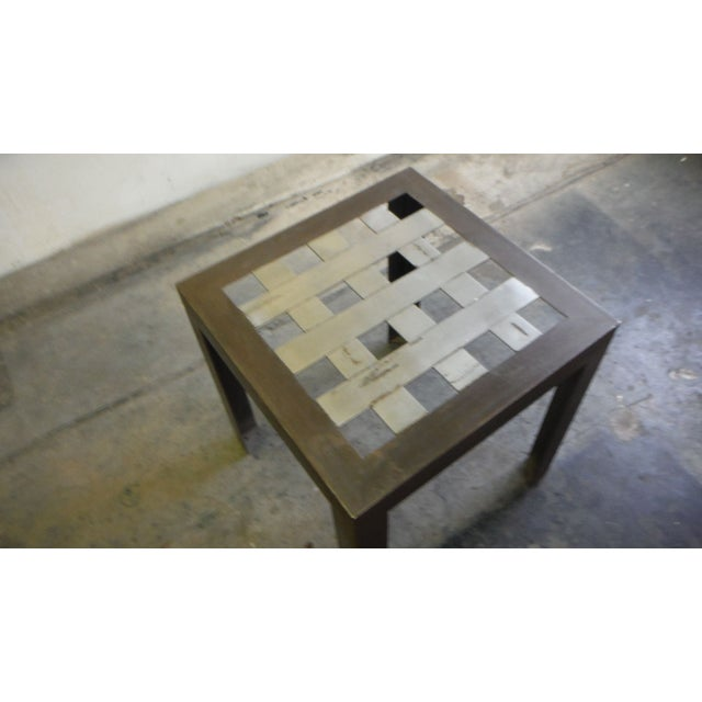 Stainless Steel Grid Side Table For Sale - Image 4 of 5