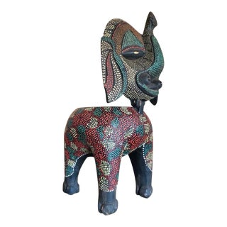 Vintage Balinese Batik Folk Art Zoomorphic Elephant Figure Box For Sale