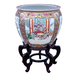 Late 20th Century Chinese Export Mandarin Jardinière or Fish Bowl on Stand - a Pair For Sale