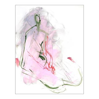 Contemporary Abstract Figurative Seated Nude Acrylic Painting on Paper For Sale