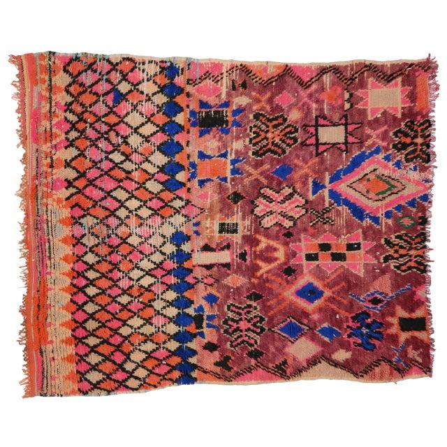 Textile 1960s Vintage Berber Moroccan Rug - 5′4″ × 6′2″ For Sale - Image 7 of 9