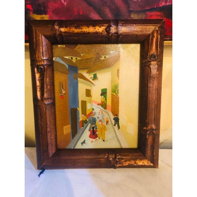 Canvas Oil on Canvas Street Scene - Framed For Sale - Image 7 of 8