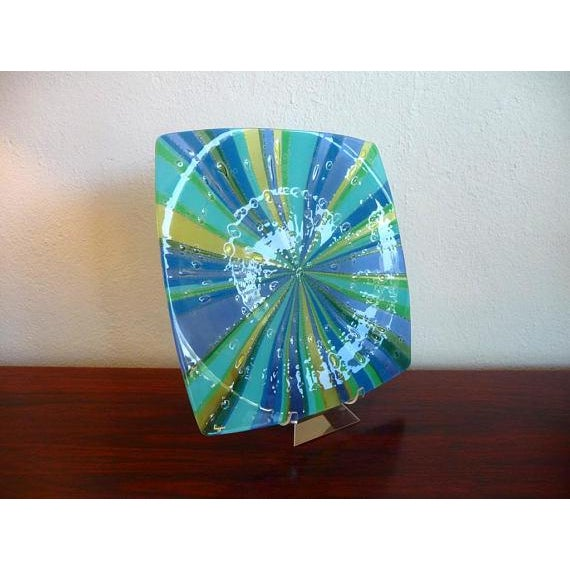 Mid-Century Modern Higgins Fused Glass Tray & Bowl - A Pair For Sale - Image 3 of 11