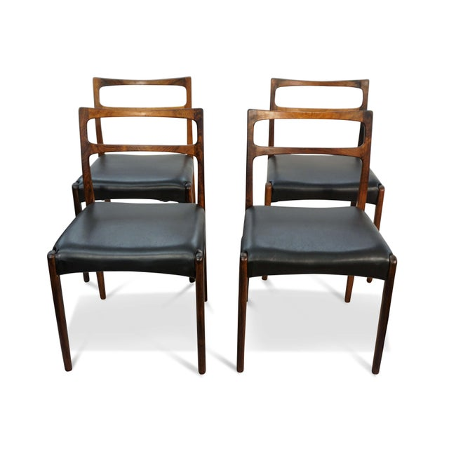 Original Danish Mid Century Johannes Andersen Rosewood Dining Chairs - Set of 4 For Sale - Image 9 of 9