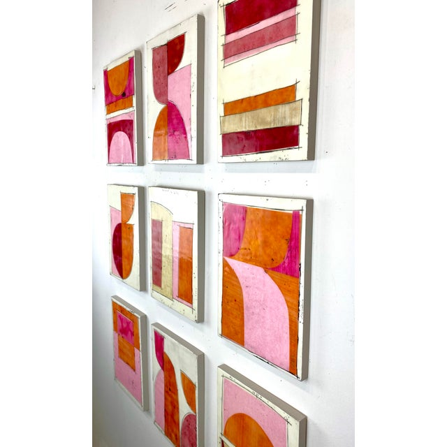 "Contemporary ""Tickled"" Encaustic Collage Painting - 9 Piece Installation by Gina Cochran - Pink & Orange For Sale - Image 3 of 13"