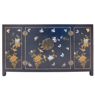 Black Vinyl Butterfly Motif Cabinet For Sale