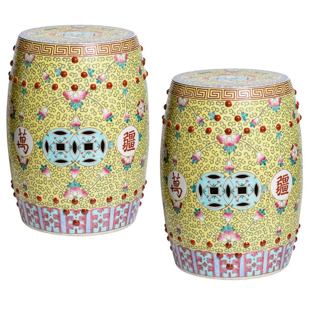 Chinese Famille Rose Garden Stools - a Pair For Sale - Image 12 of 12
