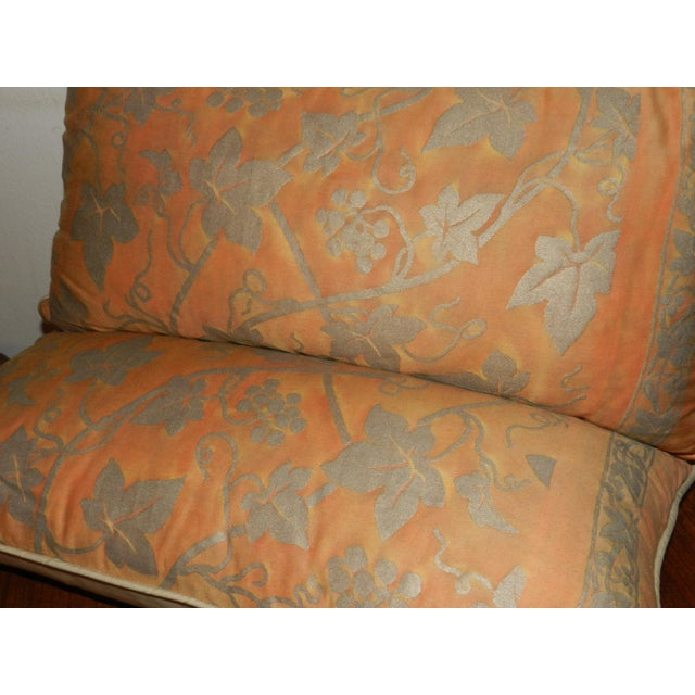 Traditional Fortuny Orange & Silver Lumbar Pillows - A Pair For Sale - Image 3 of 5