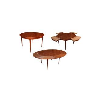 Mid Century Teak Danish Dyrlund Flip Flap Dining Table For Sale