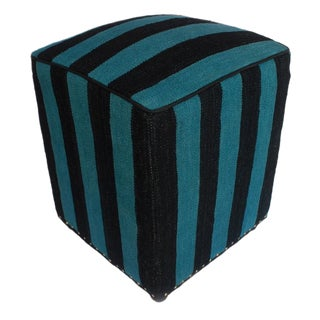 Arshs Delana Blue/Black Kilim Upholstered Handmade Ottoman For Sale