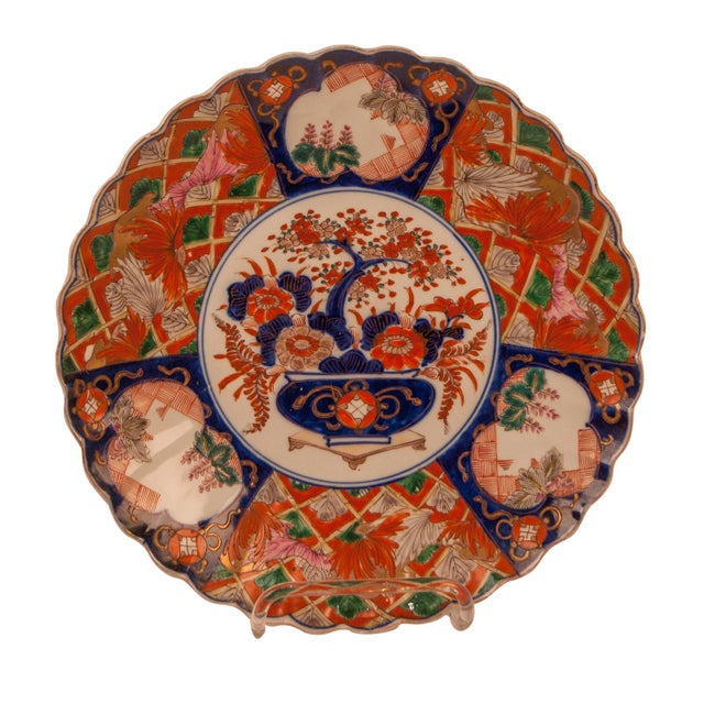 Imari Porcelain 1880s Japanese Imari Porcelain Scalloped Charger Plate For Sale - Image 4 of 6