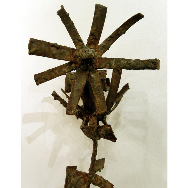 Brutalist Iron & Bronze Sunflower Sculpture Signed Faizman For Sale In New York - Image 6 of 7