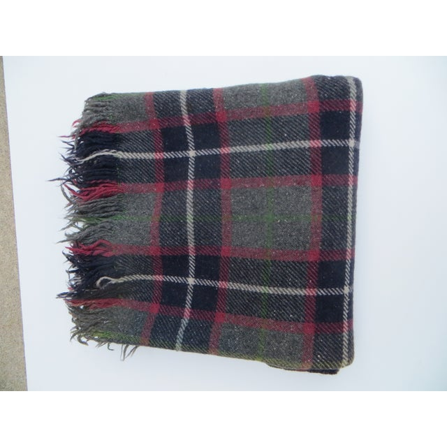 Contemporary Gray Plaid Blanket For Sale - Image 3 of 3