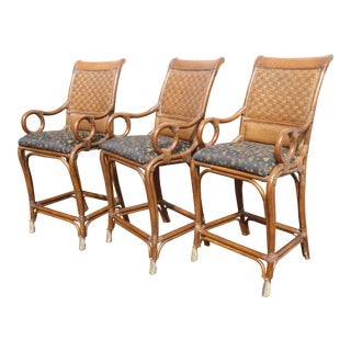 Vintage Bamboo Rattan Style Black & Brown Bar Stools ~ Tommy Bahama Style For Sale