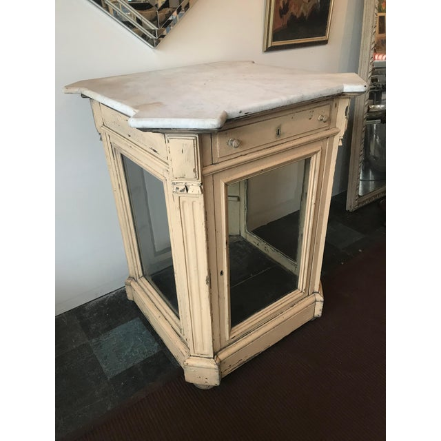 French 19th Century French Marble Topped Glass Cabinet For Sale - Image 3 of 12