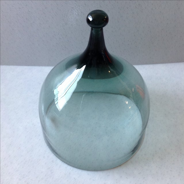 Hadeland Scandinavian Green Glass Cheese Bell - Image 3 of 7