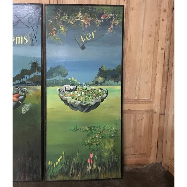 Mid 20th Century Set of 4 Large Scale Vintage Four Seasons Paintings For Sale - Image 5 of 12