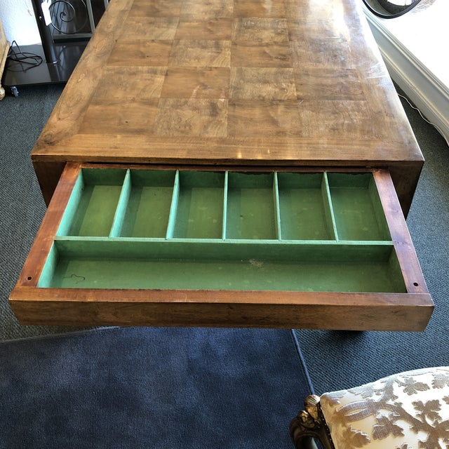 Custom Parquet Extension Dining Table For Sale In San Francisco - Image 6 of 13