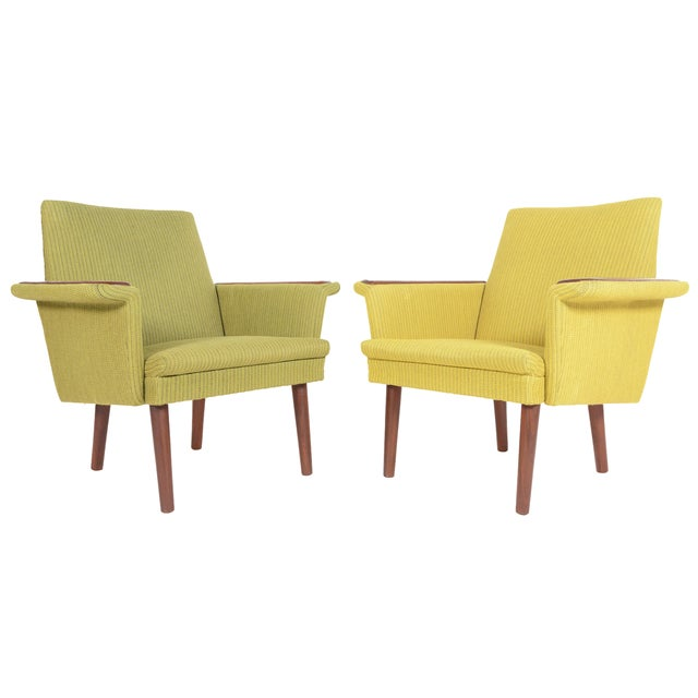 Danish Modern Teak Pawed Lounge Chairs - A Pair - Image 1 of 10