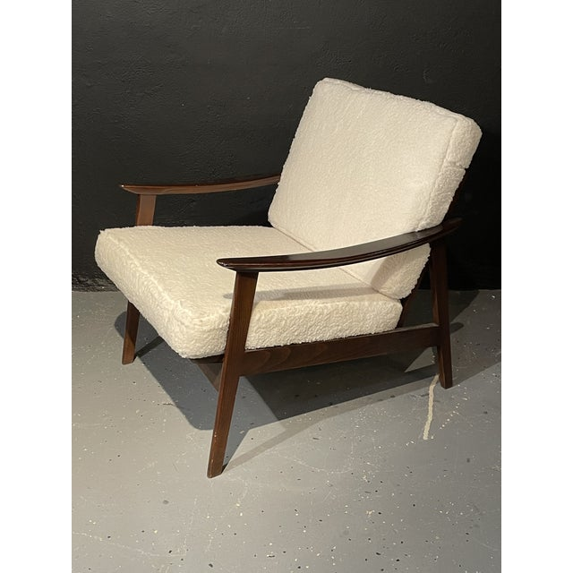 Ib Kofod-Larsen Mid-Century Modern Lounge Chairs/ Style of Ib Kofod-Larsen, Plush Sherpa - a Pair For Sale - Image 4 of 11