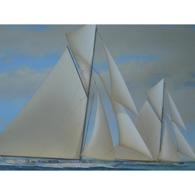 21st Century Vintage Yacht Racing Painting Possibly America's Cup by Richard Lane For Sale - Image 4 of 12