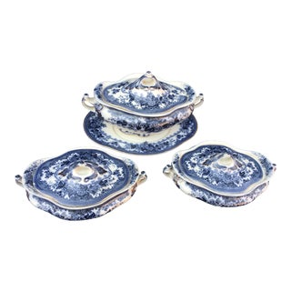 1910s Losolware Soup and Vegetable Tureens - 4 Piece Set For Sale